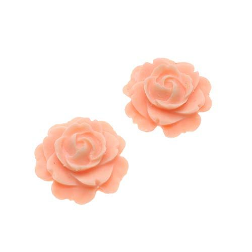 Look Lucite Cabochon Bead 2-Piece Flower Rose Beads, 15mm, Peach (Lucite Cameo Bead)