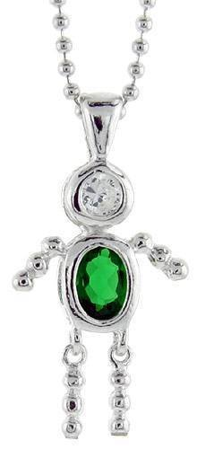Sterling Silver Birthstone Baby Brat Boy Charm May Emerald Color Cubic Zirconia Jewelry Making Supply Pendant Bracelet DIY Crafting by Wholesale Charms
