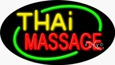 Thai Massage Oval Neon Sign - 17 x 30 x 3 inches - Made in USA by Bright Neon Signs