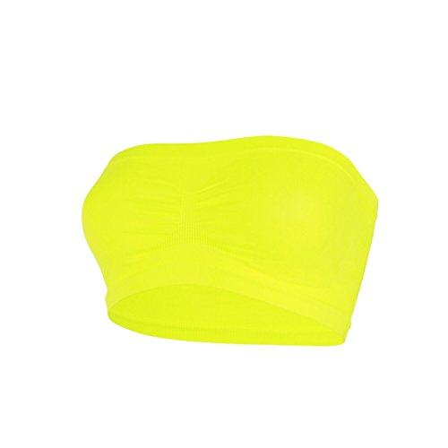 glamexx24Mujer Classics Ladies Top Pads Bandeau Neon Colores Top Body Sport BH traegerlos Front Animales amarillo neón