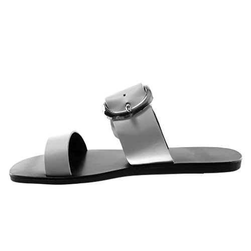 Angkorly Women's Fashion Shoes Sandals Mules - Slip-On - Buckle - Thong Flat Heel 1 cm White