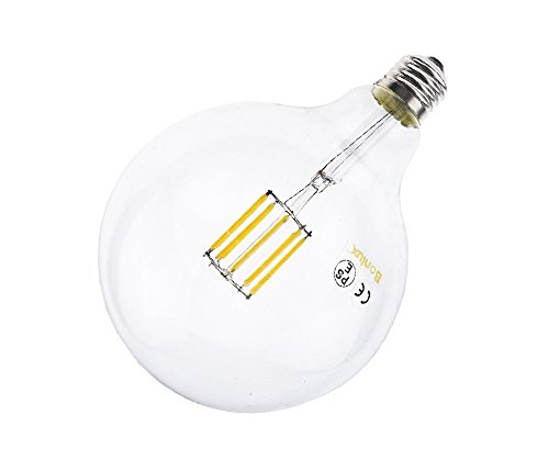 Bonlux 2-pack 10W Vintage Edison Style E26 Medium Screw Base G40 LED Globular Shape Filament Bulb, LED G125 Clear Glass Light, Neutral White 4000K, 100W Incandescent Equivalent (Non-dimmable) (G40 Medium Screw)