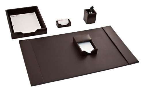 Dacasso Dark Brown Bonded Leather Desk Set, 5-Piece