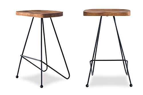 Edloe Finch ((Set of 2) Madina Modern Bar Counter Stools Chairs Iron Base, Solid Sheesham Wood, Honey
