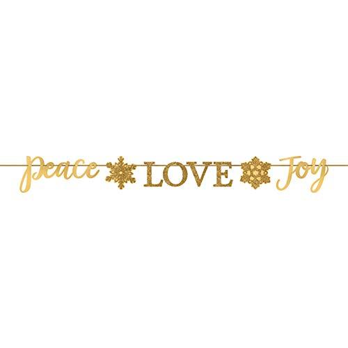 Christmas 'Peace Love Joy' Gold Glitter Banner (1ct)