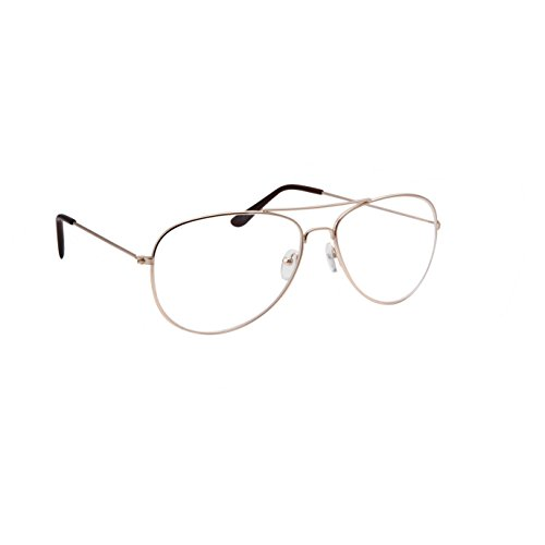 Classic Men's Or Women's Fashion Gold Aviator Glasses (3 Sizes) - - Big Glasses For Women