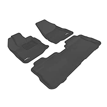 Image of 3D MAXpider Complete Set Custom Fit All-Weather Floor Mat for Select Chevrolet Equinox/GMC Terrain Models - Kagu Rubber (Black)