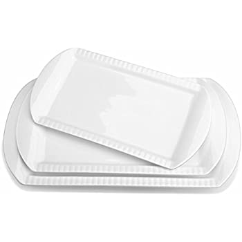 LIFVER Large Porcelain Embossed Rectangular Platter, Serving Plates, 15.6 Inch, 13.8 Inch, 12.2 Inch, Set of 3, White