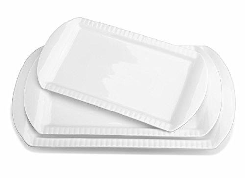 Lifver 15-inch Porcelain Embossed Rectangular Platters/Serving Plates With 3 Tier Metal Display Stand, Set of 3, White