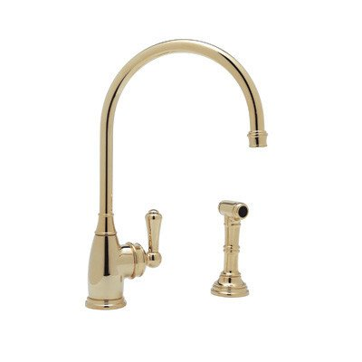 (Perrin and Rowe One Handle Single Hole Kitchen Faucet with Side Spray Rinse with High