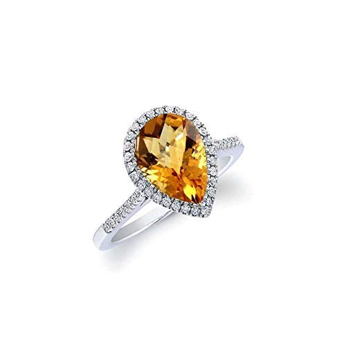 Verona Jewelers Sterling Silver Genuine Gemstone Halo Pear Cut Teardrop Ring for Women- 925 Gemstone Rings, Select Color and Size (7, Citrine)