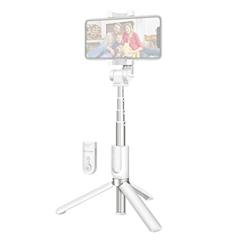Bluetooth Selfie Stick Tripod with Wireless Remote for iPhone x 8 6 7 Plus Android Samsung Galaxy S7 S8 Plus BlitzWolf 3 in 1 Mini Pocket Extendable Monopod Aluminum Alloy 360 Degree Rotation (White) from BlitzWolf