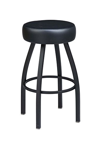 Regal Black Steel Backless Stool and Round Upholstered Seat Swivel, 26