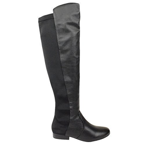 LADIES WOMENS FLAT ELASTICATED WIDE LEG STRETCH OVER THE KNEE HIGH RIDING BOOTS SIZE black matt