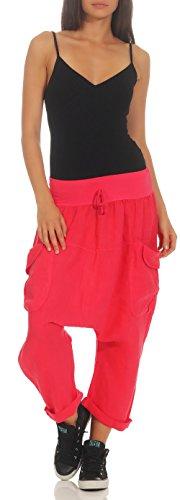 Lino Harem Rosa Donna Capri Pantaloni Plain malito 6824 Bloomers Fucsia di Colors Pantaloni pHIfxxqFw