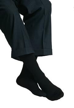 MAXAR Men's Trouser Support Socks (23-30 mmHg) Black, Medium, 2 Count
