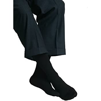MAXAR Mens Trouser Support Socks (23-30 mmHg) Black, XXLarge, 2 Count