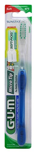 Gum Toothbrush Micro Tip Compact (6 Pieces) Soft Micro Tip Toothbrush Compact