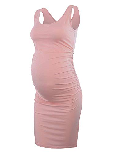 (Liu & Qu Women's Maternity Sleeveless Tank Dresses Side Ruching Bodycon Dress For Daily Wearing Or Baby)