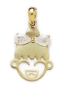 14k Yellow Figurine (14k Yellow Gold Cubic Zirconia Girl Face Pendant - Measures 21x13mm)