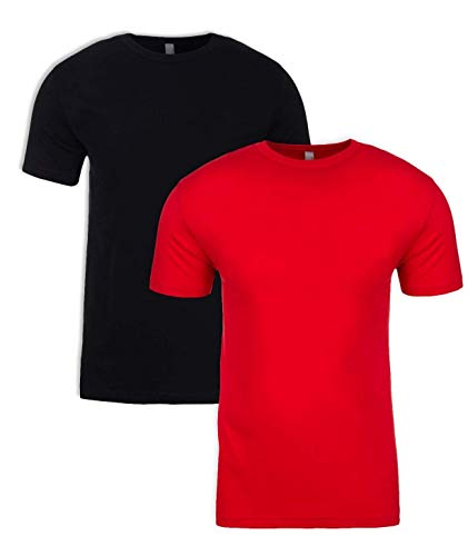Next Level Mens Premium Fitted Short-Sleeve Crew T-Shirt - Black + Red (2 Pack) - - Black Sleeve Apparel Short Crew