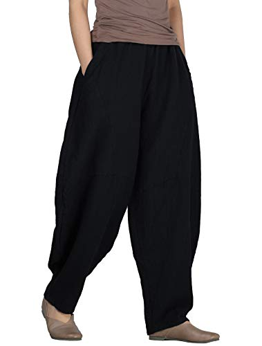 Women's Cotton Linen Pants Cropped Wide Leg Baggy Tapered Capri Elastic Waist Ankle Trousers with Pockets 2XL Black
