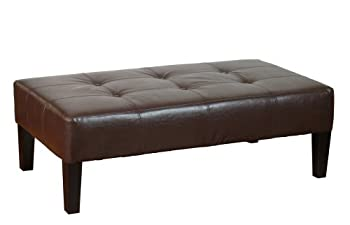 4D Concepts Large Faux Leather Coffee Table, Brown