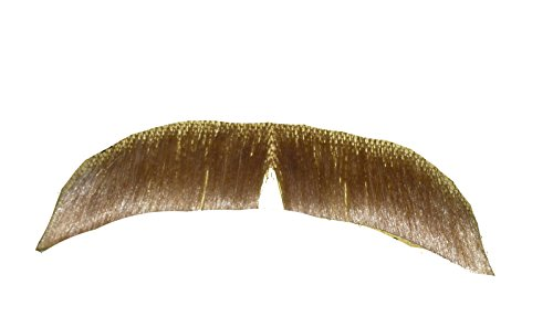 2015 (Blonde) Human Hair Mustache Hippie Mustache 70s Mustache Includes 6 Free Adhesive Strips