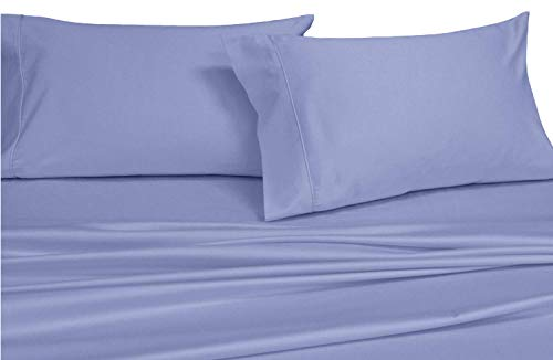Royal's Solid Periwinkle 600-Thread-Count 4pc King WATERBED Sheets, 100-Percent Cotton, Sateen Solid, Deep Pocket -