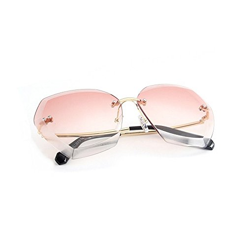 MINCL/Rimless Cut-out Rectangular Gradient Ocean And Clear Lens Sunglasses (metal-pink, - Pink Sunglasses Rimless