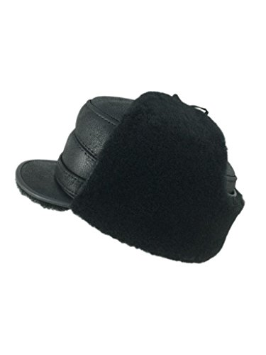 Sheepskin Cap - Zavelio Men's Shearling Sheepskin Elmer Fudd Captain Visor Hat Medium Solid Black