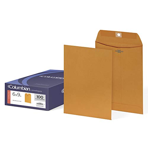 Columbian Clasp Envelopes, 6 x 9 Inches, Brown Kraft, 100 Per Box (CO955) ()