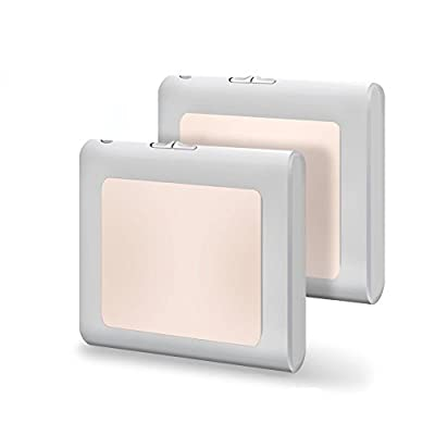 [2Pack] Vintar Plug-In Led Night Light with Auto Dusk to Dawn Sensor,Adjustable brightness Warm White lights for Hallway,Bedroom, kids Room, Kitchen, Stairway,Bathroom