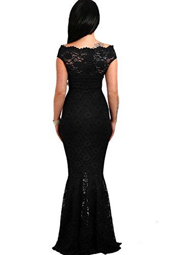 Mermaid Wedding Black CutePaw Bardot Maxi Evening Lace Fishtail Women s Dress Gown Party Sexy Floral pww0xfZz