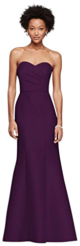Structured Mikado Strapless Long Bridesmaid Dress Style F19279, Plum, 16