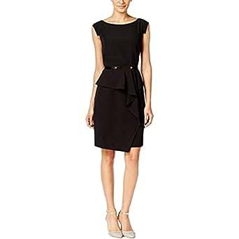 alfani womens cap sleeve peplum dress with belt size 4 at