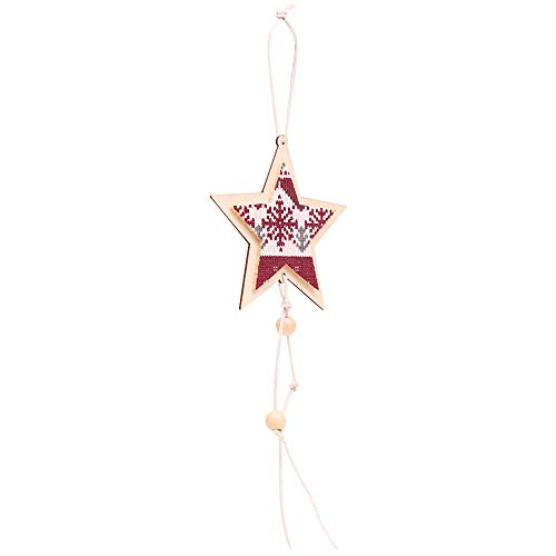 Fheaven (TM) Christmas Trees Pendant Christmas Decoration Wooden Five-pointed Star Pendant (C)