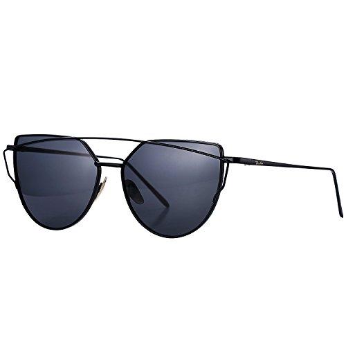 Pro Acme Fashion Cat Eye Mirrored Flat Lenses Metal Frame Women Sunglasses (Black - Korea Sunglasses