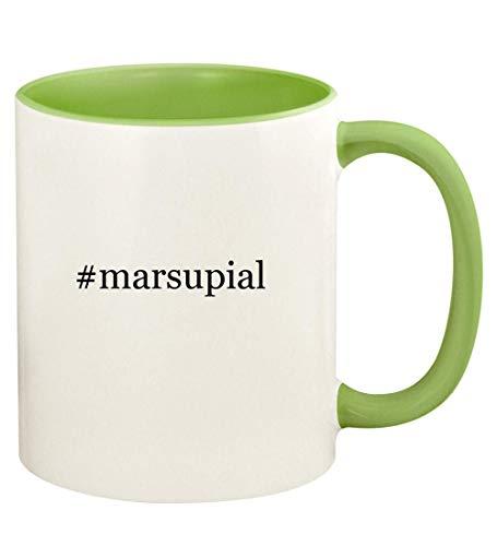 #marsupial - 11oz Hashtag Ceramic Colored Handle and Inside Coffee Mug Cup, Light Green