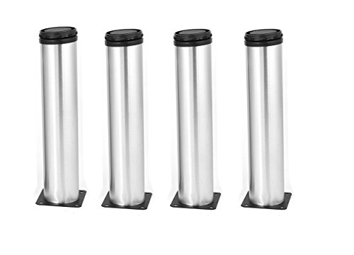 Antrader Furniture Cabinet Adjustable Feet Metal Round Sofa Bed Foot Legs Support 50 x 300mm Set of 4 with Screws