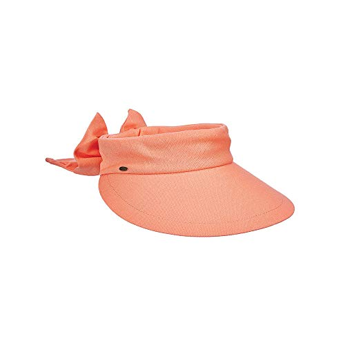Scala Women's Deluxe Big Brim Cotton Visor with Bow, Grapefruit, One - Cotton Hat Crusher