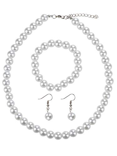 - NYFASHION101 Women's 8mm Simulated Pearl Necklace with Stretch Bracelet and Ball Earrings, White