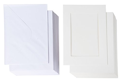 36-Pack Photo Insert Note Cards - Includes Paper Picture Frames and Envelopes - White Paper Photo Mats, Photo Insert Greeting Cards, Holds 5 x 7 Inches Inserts
