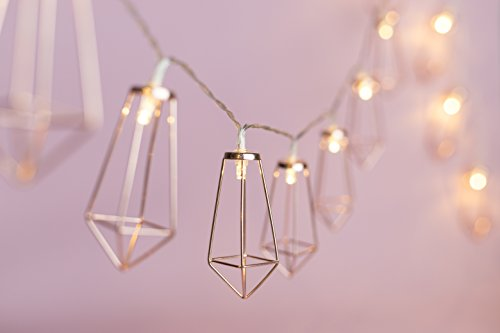OHSEE USB LED String Lights with 20 Rose Gold Geometric Boho Lantern, Great for Home Patio Bedroom Garden Wedding Party Indoor Decoration (Warm white)