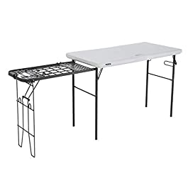 Lifetime Folding Tailgate Camp Table with Grill Rack, White