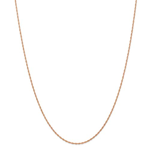 14k Rose Gold 1.15mm Carded Cable Link Rope Necklace Chain Pendant Charm Fine Jewelry For Women Gift Set