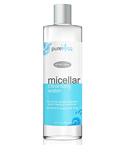 Micellar Cleansing Water - Gentle Alcohol Free, No Rinse Facial Cleanser and Makeup Remover - For All Skin Types including Sensitive - Great for Travel, Post-Workout and Before Bedtime