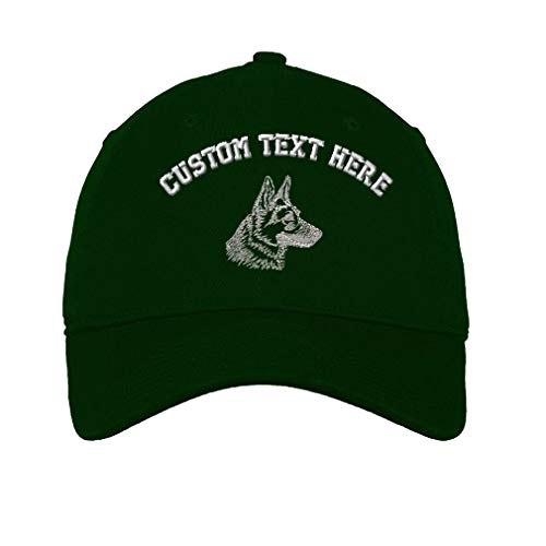 Custom German Shepherd Head Silver Embroidery Unisex Adult Flat Solid Buckle Cotton 6 Panel Unstructured Baseball Hat Adjustable Cap - Forest Green