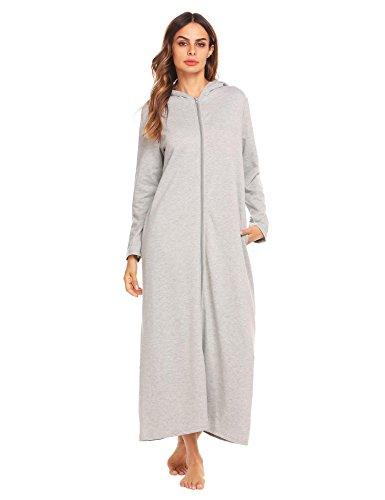 Vansop 100% Cotton Long Hooded Zip Front Robe Terry Bathrobe For Women Warm Nightrobe(Grey M) - Long Terry Cotton Robe