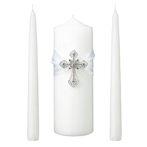 (Lillian Rose AZ100002 W White/Silver Cross Unity Candles (Renewed))